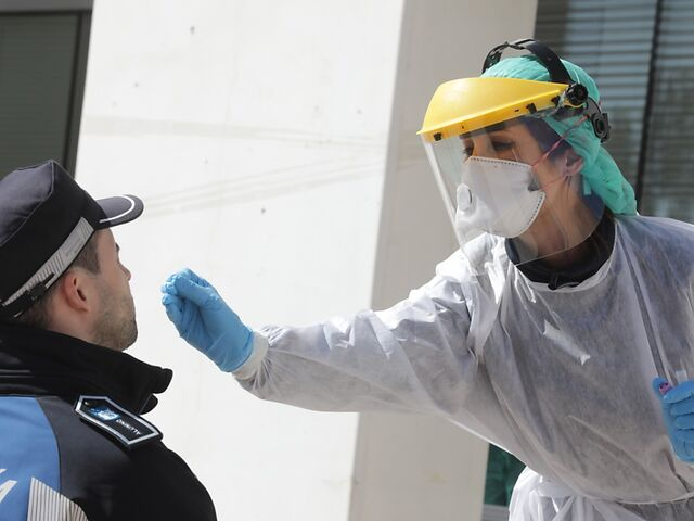 A police officer in Madrid is being tested