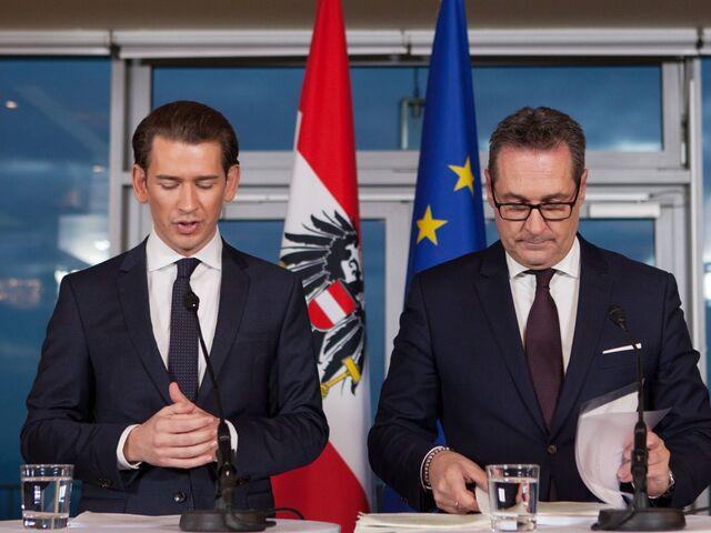 Sebastian Kurz und Heinz-Christian Strache bei der Präsentation des Regierungsprogramms.