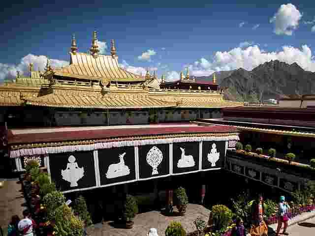 Feuer beschädigte Jokhang-Tempel