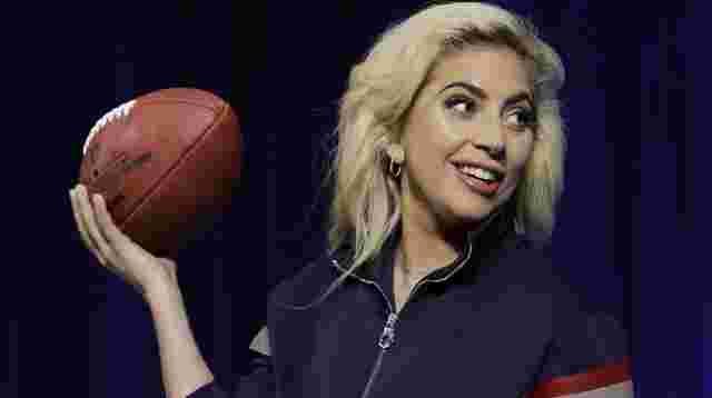 Touchdown: Lady Gaga bei einer Pressekonferenz vor dem Super Bowl in Houston.