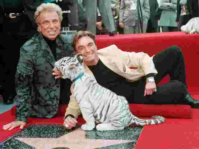 Siegfried Fischbacher und Roy Horn mit einem weißen Tiger am Walk of Fame in Hollywood, Los Angeles.