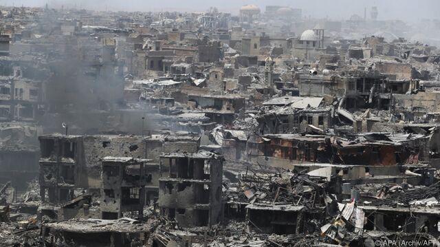 Viele Häuser In Mosul Zerstört.