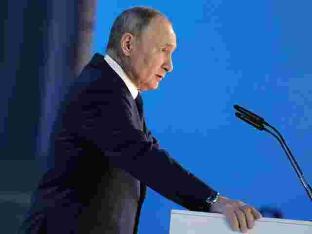 Russlands Präsident Wladimir Putin bei seiner Rede zur Lage der Nation am Mittwoch.