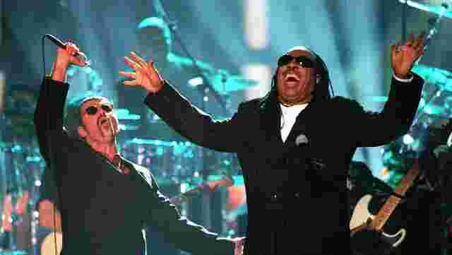 George Michael mit Stevie Wonder 1997.