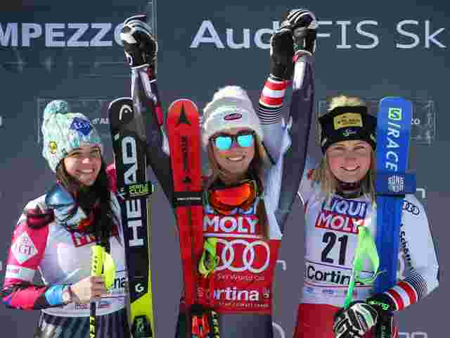 Das Podest: Weirather, Shiffrin, Tippler.