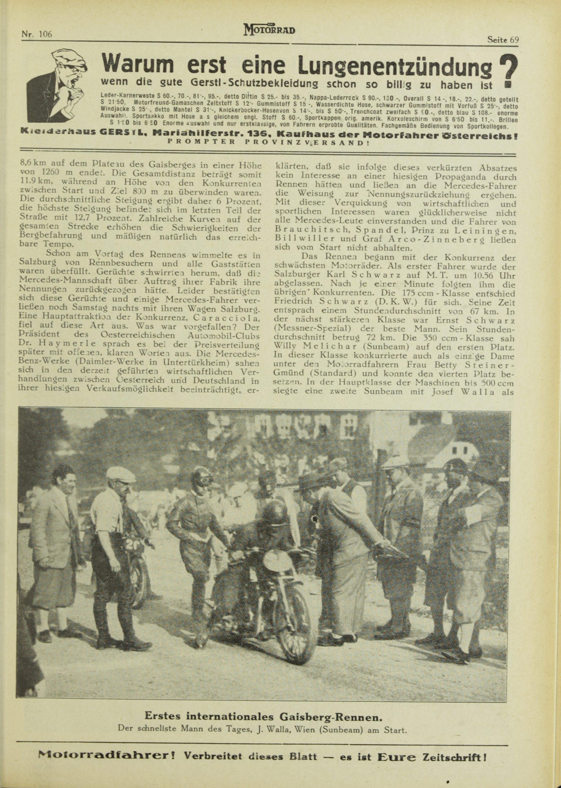 Erstes Gaisbergrennen 1929, er schnellste Mann des Tages: Josef Peppi Walla aus Wien auf Sunbeam.