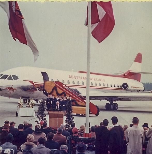 Taufe Caravelle am Flughafen Salzburg 1964
