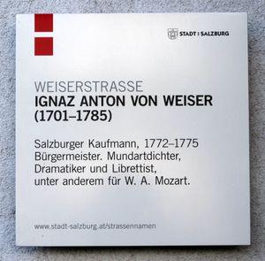 Ignatz Anton Von Weiser Salzburgwiki