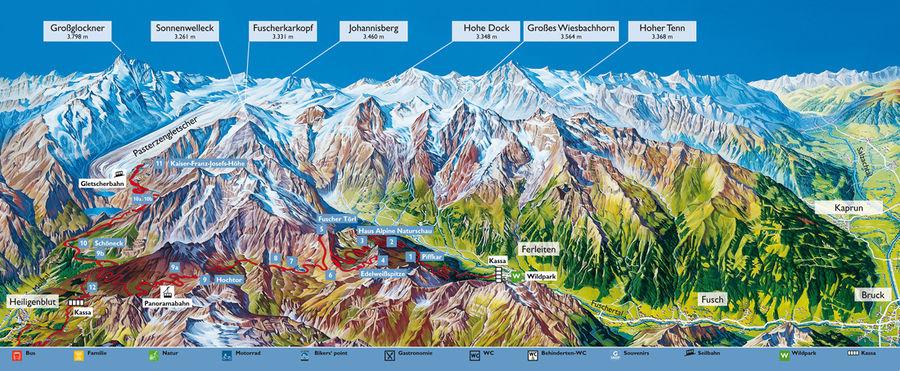 Großglockner Karte.Großglockner Hochalpenstraße Straßenverlauf Salzburgwiki