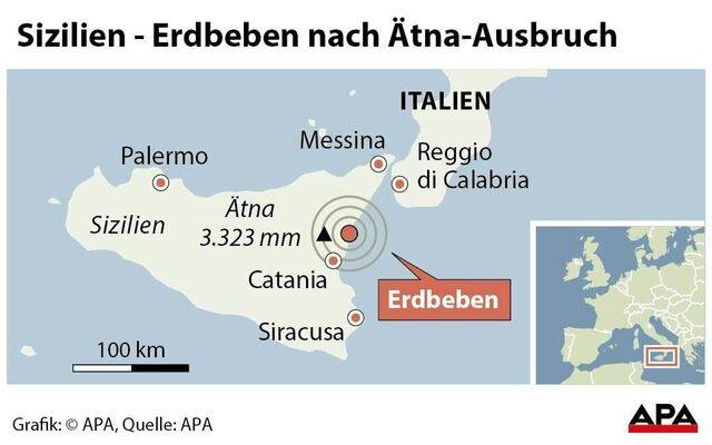 Sizilien Karte ätna.ätna Ausgebrochen Erdbebenserie Erschüttert Sizilien Sn At